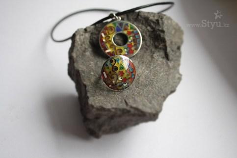 Кольцо с рисунком Густава Климта. Серебро горячая эмаль. Графичный орнамент. Цветная графика