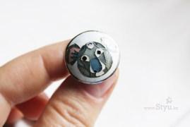 круглое серебряное кольцо с коалой.