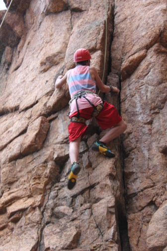 """A participant in Phoenix Multisport's """"Together Families Recover"""" program during a climbing event at Bear Trap Ranch near Colorado Springs, Colo. during a climbing event at Bear Trap. Ranch near Colorado Springs, Colorado. Photo: Phoenix Multisport"""
