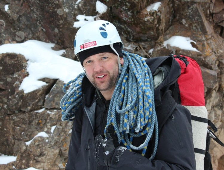 Scott Strode, founder of Phoenix Multisport, ice climbing in Ouray, Colo. Photo: Phoenix Multisport