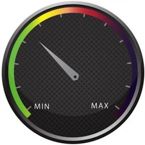 Image of a speedometer showing website performance