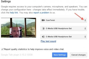Video settings in a Google Hangout