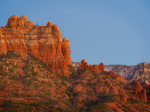 snoopy rock at sunset sedona, arizona