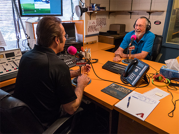 tom taback with bob coates on the radio