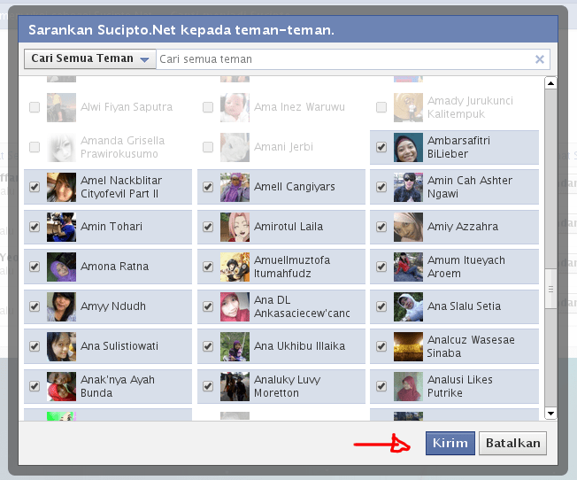 Undang teman di facebook