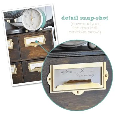 DIY vintage file drawer ikea hack and free printable