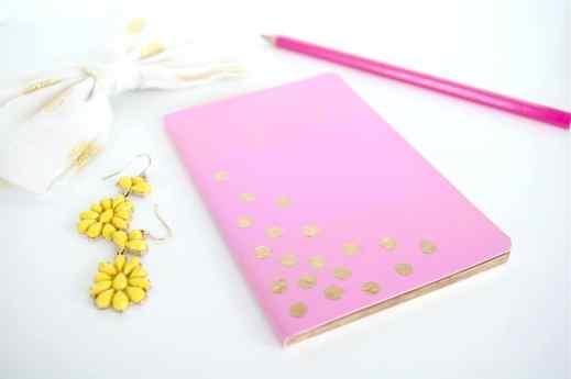 DIY gold leaf nocturnal journal