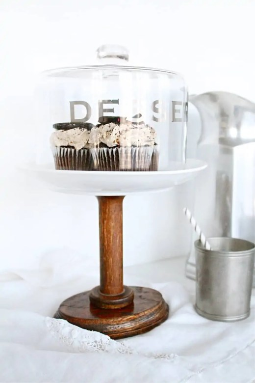 DIY cake stand from a vintage spool