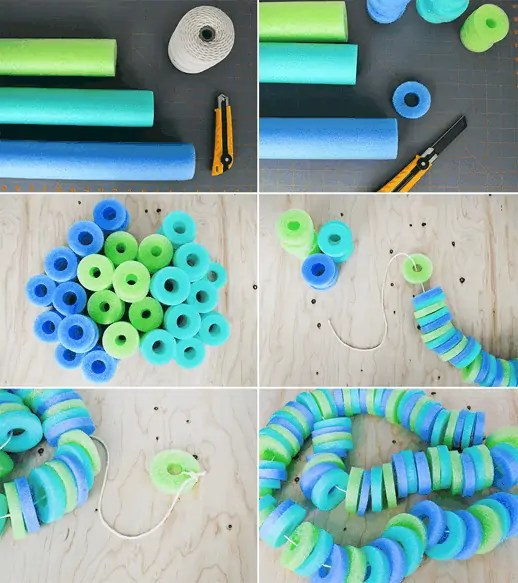 DIY pool noodle garland