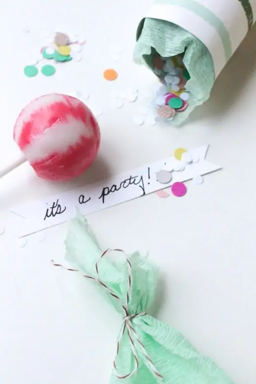 DIY surprise party popper by sugar and cloth
