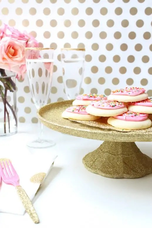DIY glittered decoupage cake stand and table settings by Sugar & Cloth
