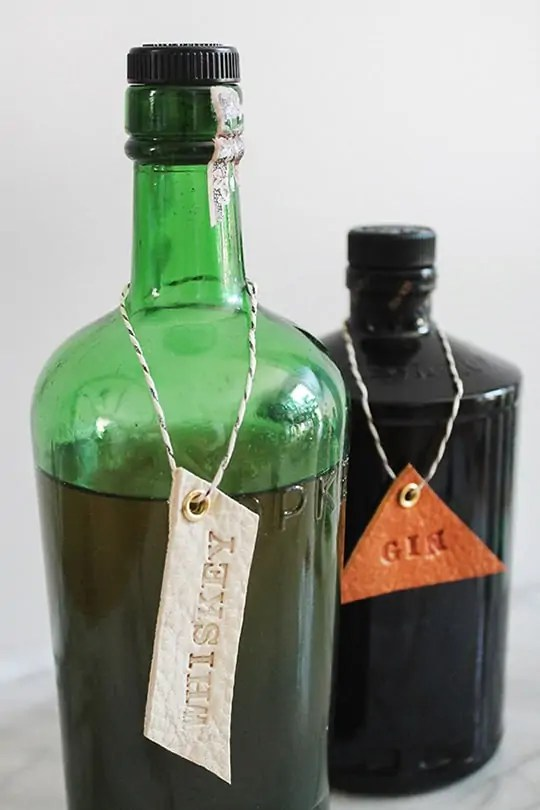 DIY leather bar and drink tags