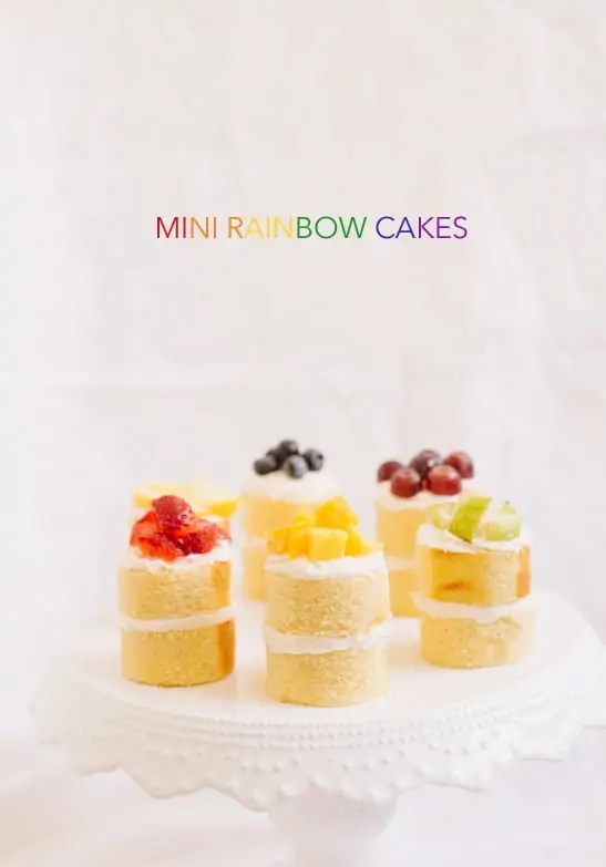 mini rainbow cake recipe | sugarandcloth.com