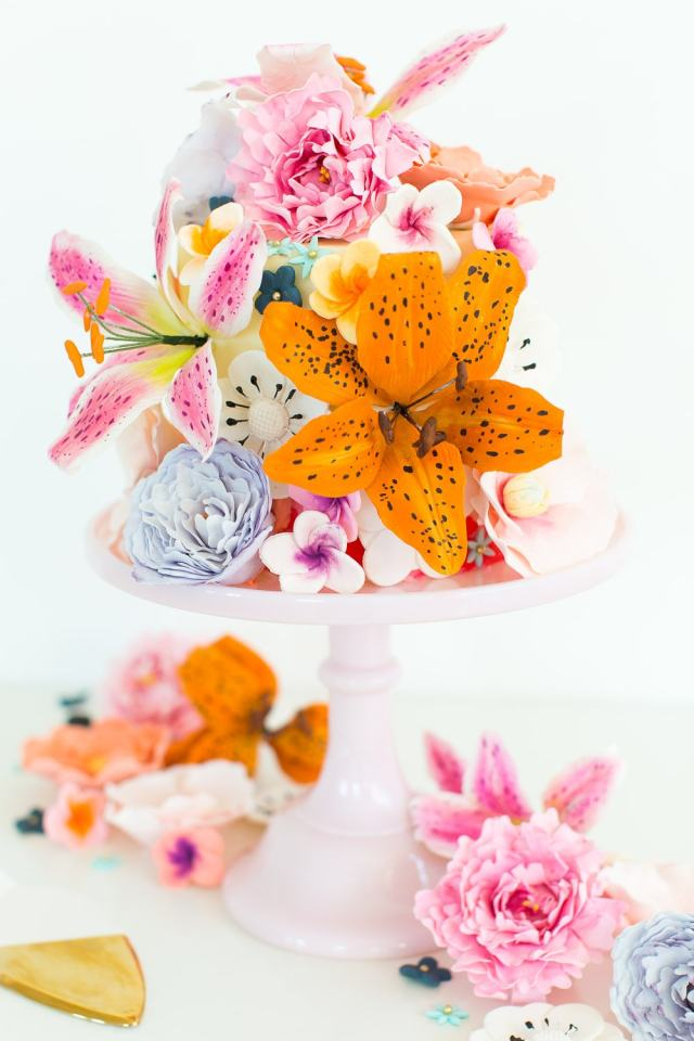DIY sugar flower cake - sugar and cloth - spring