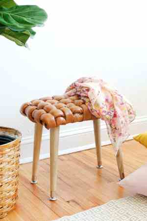 DIY Woven Leather Stool