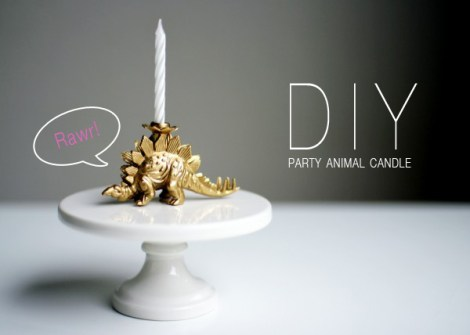DIY party animal candle holder spray painted
