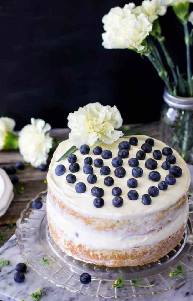 Lemon Zucchini Layer Cake with Blueberries