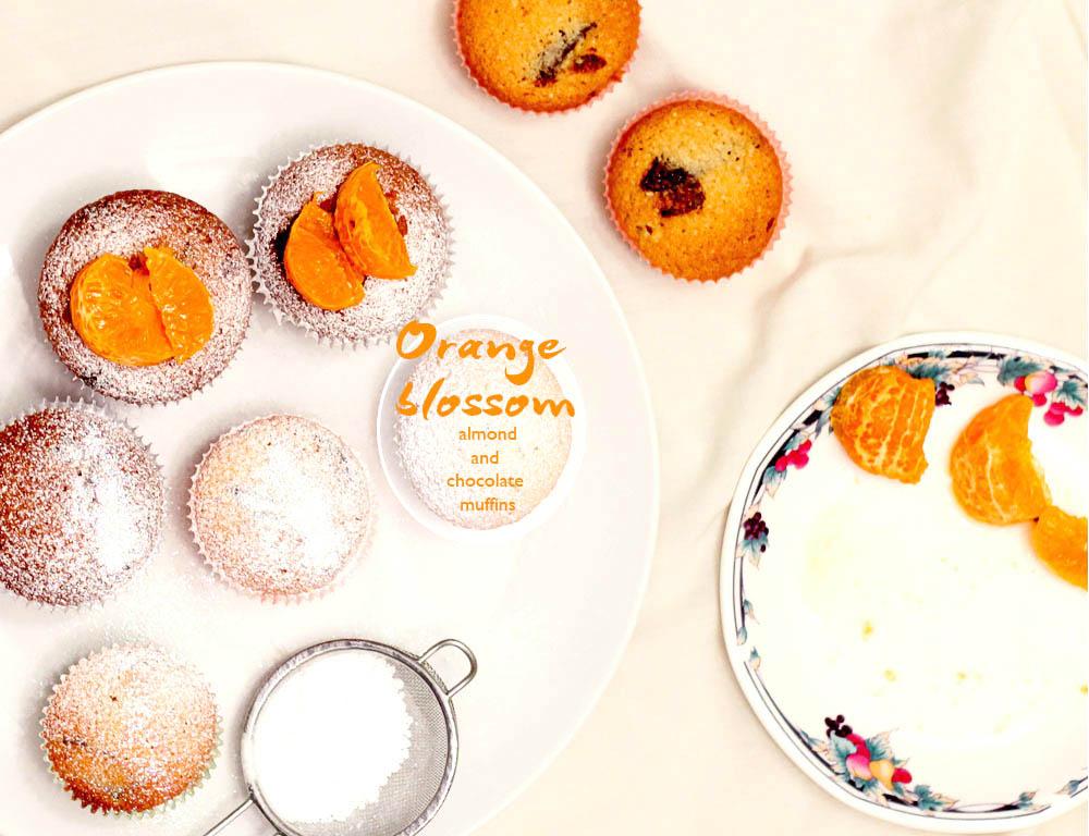 orange blossom, almond and dark chocolate muffins
