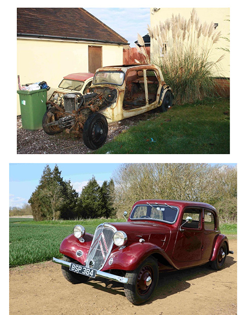 Before and after pictures of a Citroën Traction Avant which will be on display at the Sulgrave Car Show.