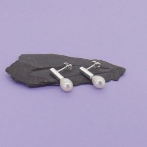 Pearl Baton Stud Earrings