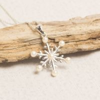 Silver Pearl Snowflake Pendant by Summer and Silver