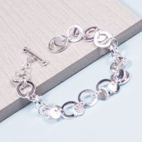 Silver Circles and Discs Bracelet