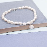 Pearl Bracelet with Rose Blossom Charm