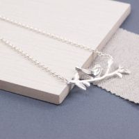 Silver Resting Robin Necklace