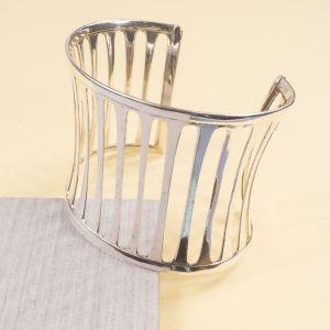 Silver Lineal Cuff Bangle