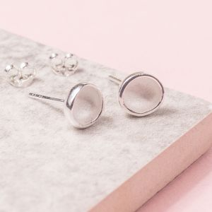 Silver Moondrop Stud Earrings