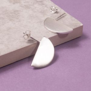 Silver Eclipse Stud Earrings