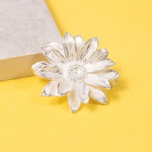 Large Silver Sunflower Brooch