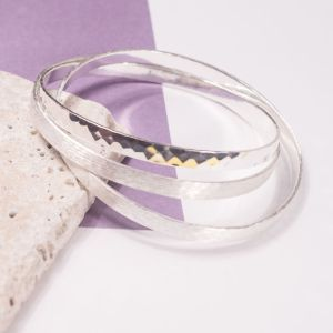 Trio of Silver Hammered Bangles
