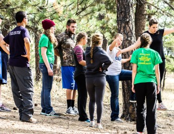 Students participate in Ropes Course at the Outdoor Rec. Labor Day camping trip. Photo by Riley Howard