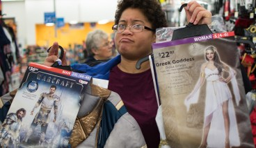 Rocky Student Annastacia Anderson looks for a Halloween costume. photo by Ean McLaughlin.
