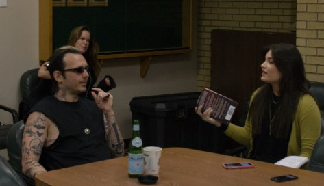 Shayna Lloyd conducts an interview with Damien Echols before he gives the 2016 Common Read Lecture at Rocky Mountain College. Photo by Ean McLaughlin