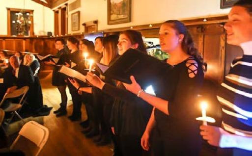 Rocky Mountain College Concert Choir sings the Alma Mater for dinner guests. Photo by Alsa Photography.