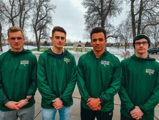 From left to right: RMC athletes Brenden Leaming, Isaac Petsch, Elijah Boyd, and Joseph Vanden Bos. Photo by Tanja Staben.
