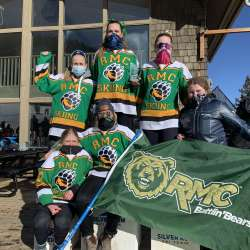 RMC's Lady Bears claiming first place overall award Top Left: Hilde Sato, Sofia Brustia, Sydney Weaver Bottom Left: Emma Hiebert, Larissa Saarel, Jessie King Photo courtesy of RMC Ski Team