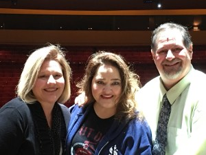 Julianne and I with Tregoney on the Wicked set in Louisville
