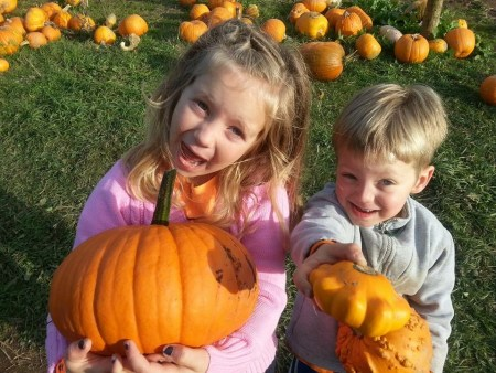 Pumpkin picking with little brother Benson
