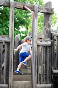 Grandson Landen runs along one of the plank walks