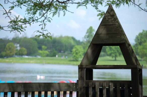 A view of Jacobson Lake as seen from a bench on the playground