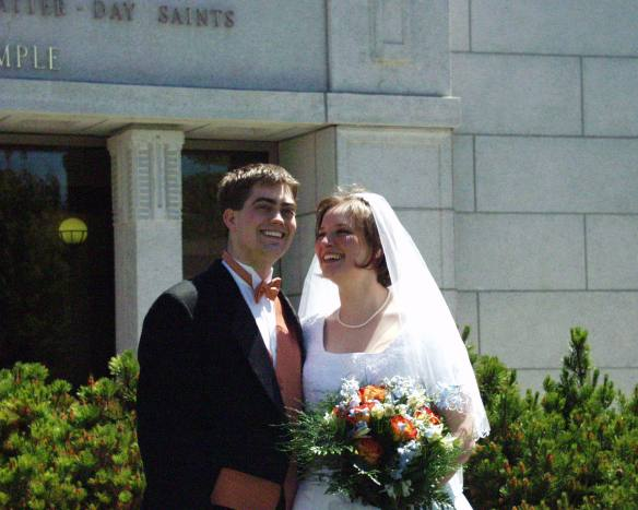Amaree with her brand new husband in 2005 at the Cardston, Alberta LDS Temple