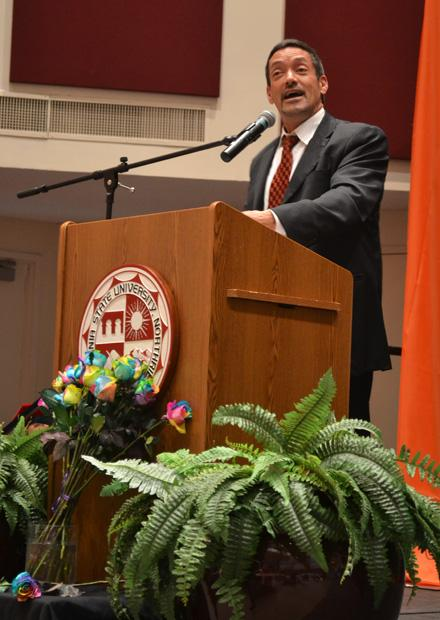 John J. Duran, mayor of West Hollywood, was the featured guest speaker at Rainbow Graduation. Duran spoke of his trials and tribulations of being a gay man and LGBTQ advocate in the 80's and how his education played a pivotal role.  Photo credit: John Saringo-Rodriguez / Photo Editor