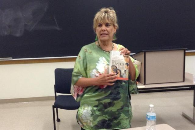 """Donna Rosenthal the author of """"The Israelis: Ordinary People in an Extraordinary Land,"""" talks to students about why she wrote the book from an Israeli perspective in Sierra Hall on Wednesday."""
