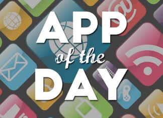 "Sign reading: ""App of the Day"". The background deicts various mobile applications including email, wifi, web, games and more."