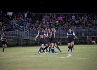 CSUN Matadors women soccer team celebrates as they take a win.