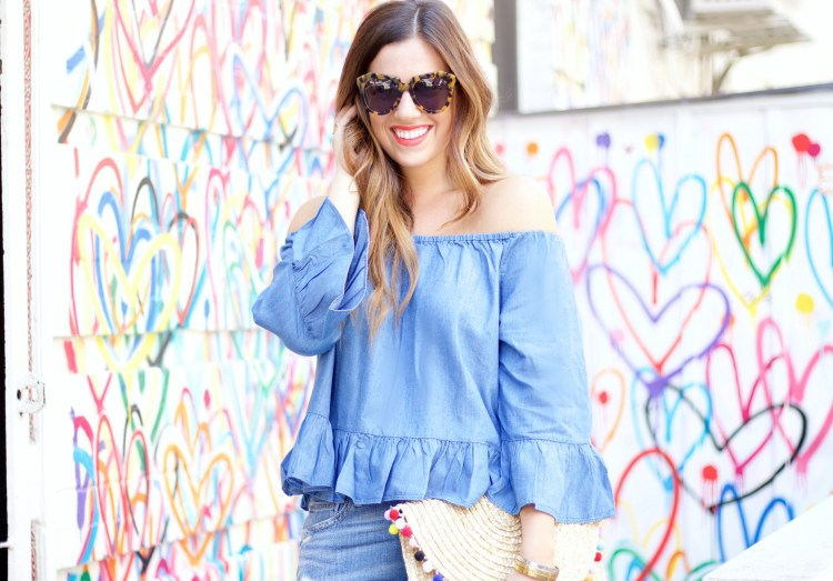 goodnight macaroon, chambray off shoulder top with ruffles