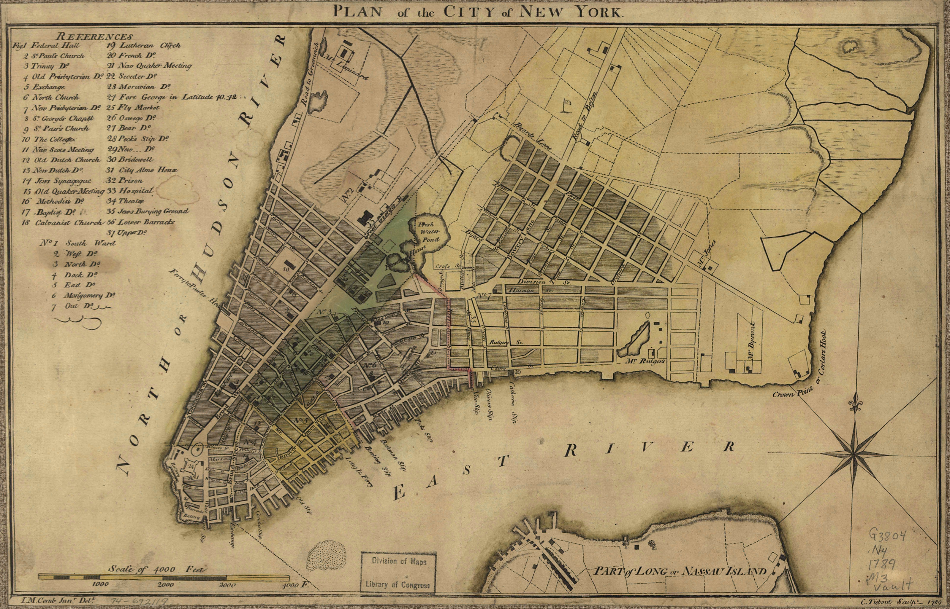 Maps of 18th Century America 1789 New York and 3200